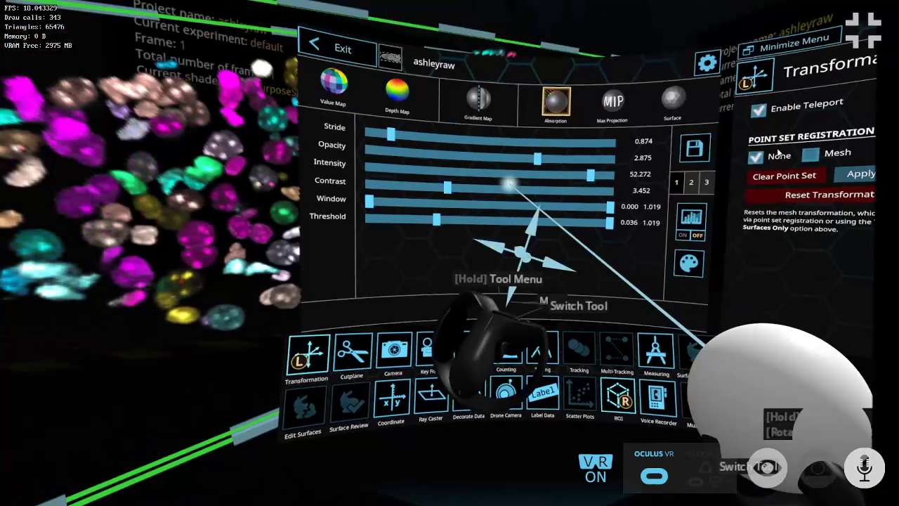The main menu of syGlass, a scientific data visualization and annotation system, created by engineers at West Virginia University. (Photo submitted)