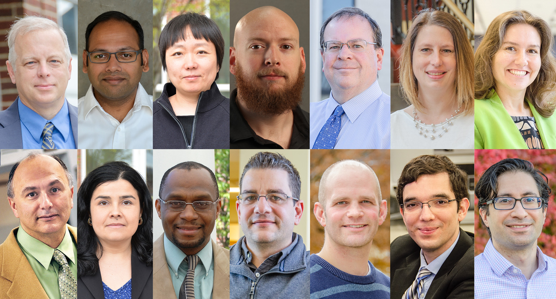 Recipients of the College's Teaching, Research and Advising Awards. (Top row, from left to right) Todd Hamrick, Ashish Nimbarte, Yuxin Liu, Ron Reaser, Brian Woerner, Robin Hissam and Maggie Bennewitz. (Bottom row, from left to right) John Quaranta, Lizzie Santiago, Don Adjeroh, Kostas Sierros, Jason Gross, Fernando Lima, and Berk Tulu.