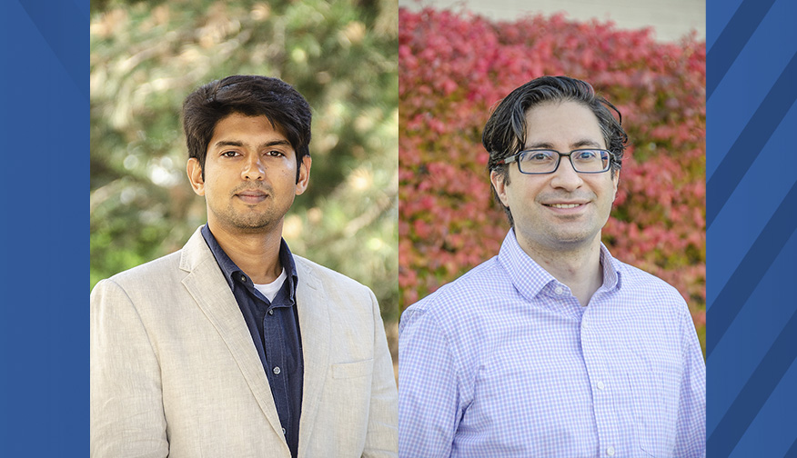 Piyush Mehta (pictured left) and Berk Tulu (pictured right), both assistant professors in the Statler College, have been named J. Wayne and Kathy Richards Faculty Fellows in Engineering. (WVU Photo/Paige Nesbit)