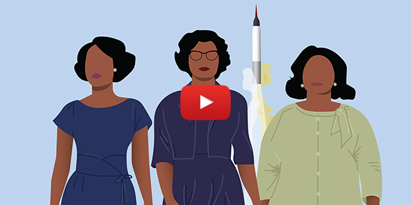 Illustration of Kathering Johnson and a rocket with a video play button